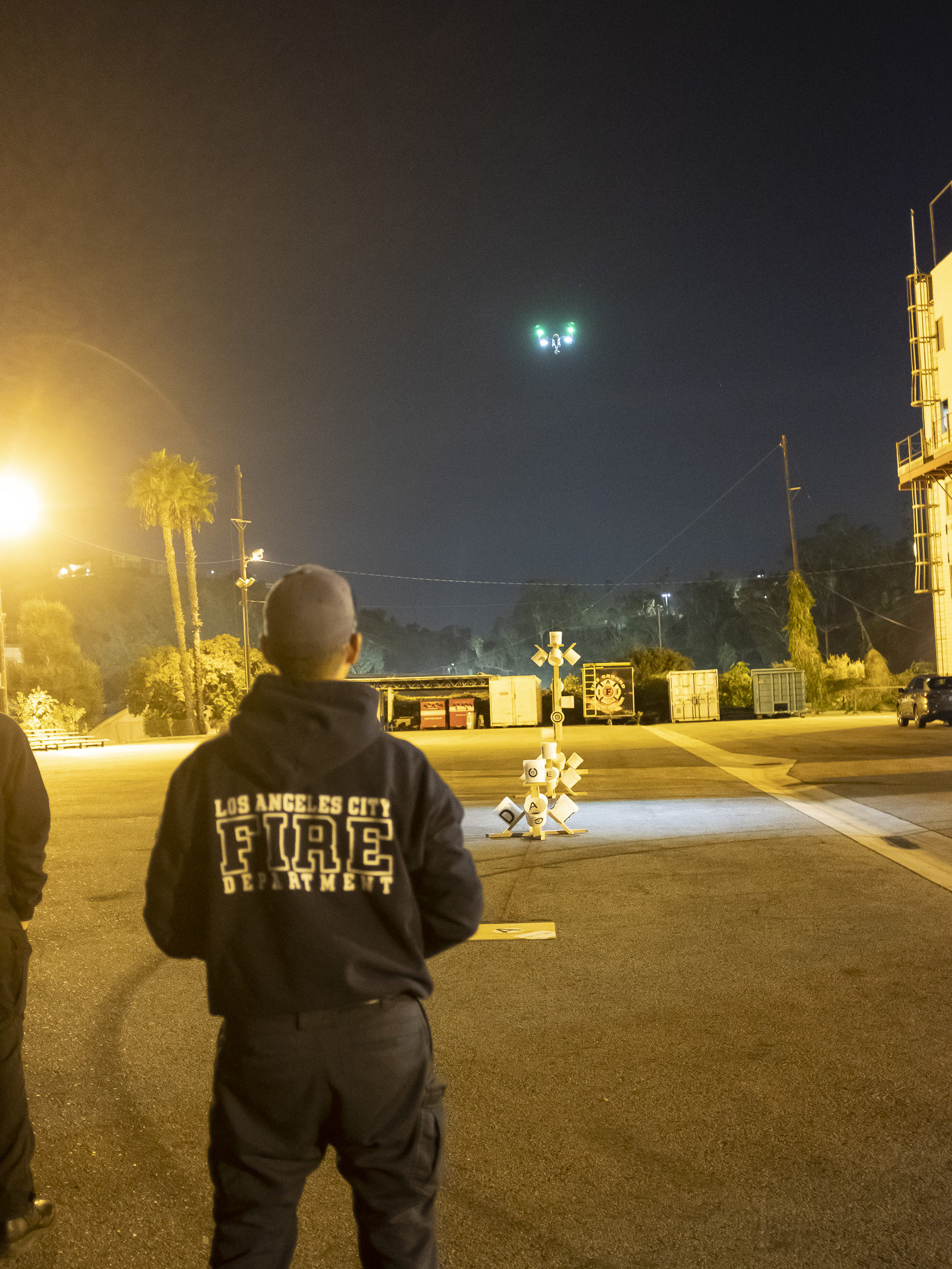 LAFD pilot practices NIST UAV training maneuvers with lights